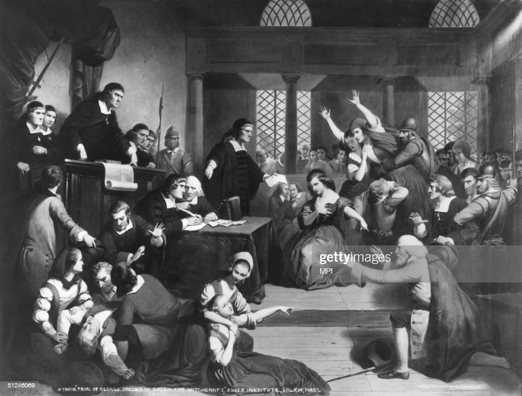 Circa 1692 The trial of George Jacobs for witchcraft at the Essex Institute in Salem Massachusetts