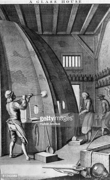 Circa 1740 Glassmakers at work in an English bottle house Original Artwork Printed for J Hirton at the King's Arms St Paul's Churchyard 1747 After an...