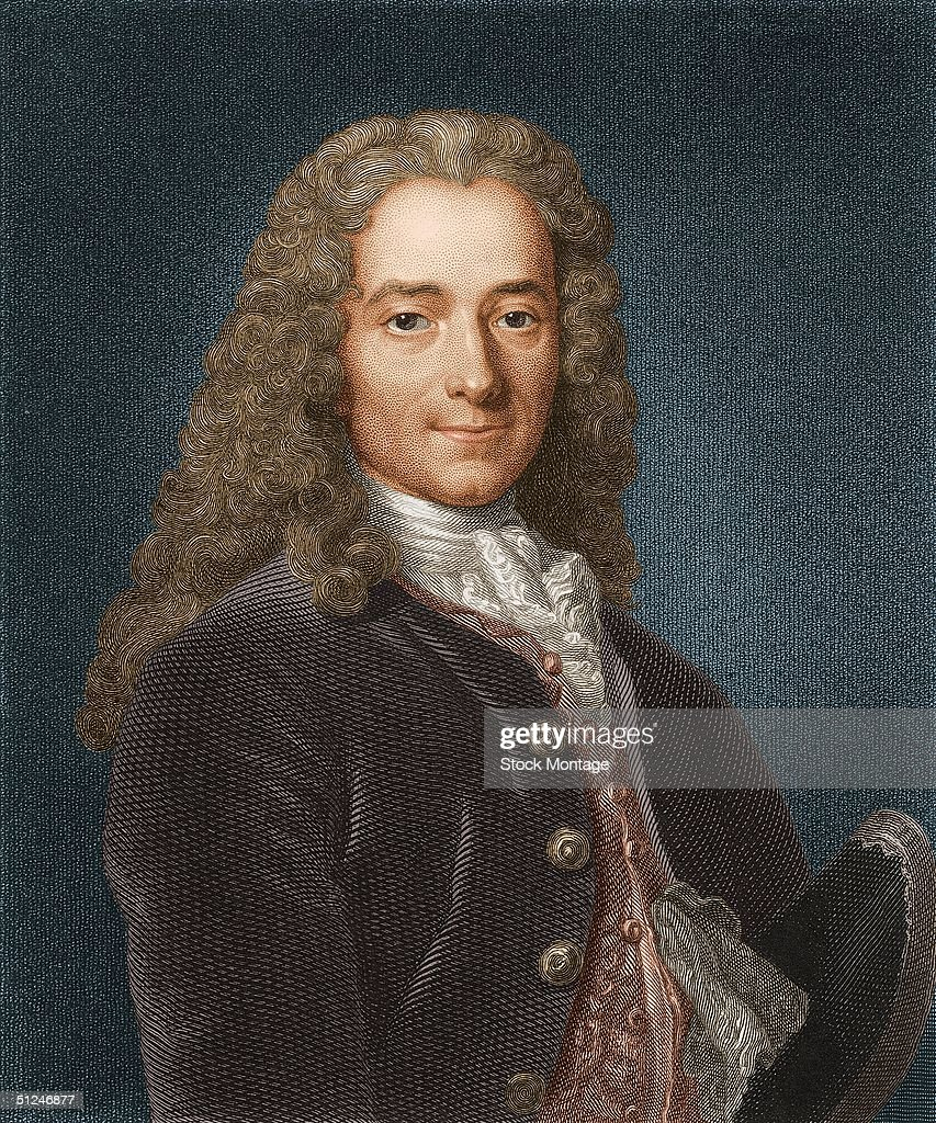 Circa 1740 Portrait of Voltaire French writer and philosopher Born FrancoisMarie Arouet a brilliant wit his histories 'Henry IV' and 'Louis XIV' and...