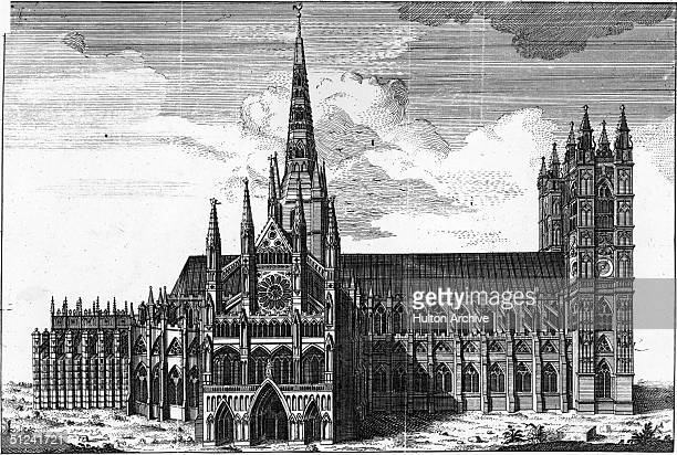 Circa 1740 Westminster Abbey London with the new towers and spires as designed by Sir Christopher Wren and built by Nicholas Hawksmoor his assistant...