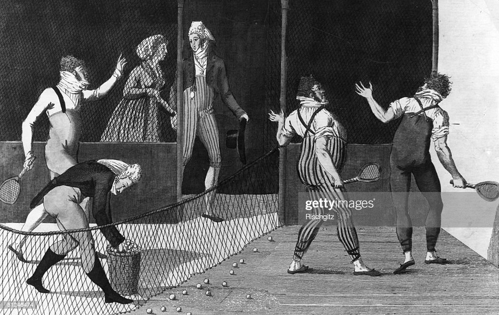 Circa 1750, A cartoon of a game of tennis being played in France around 1750.