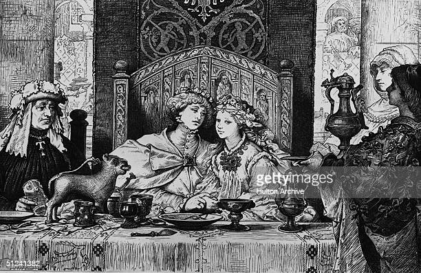 Circa 1750 A couple sitting on a double seat at the table of their wedding banquet
