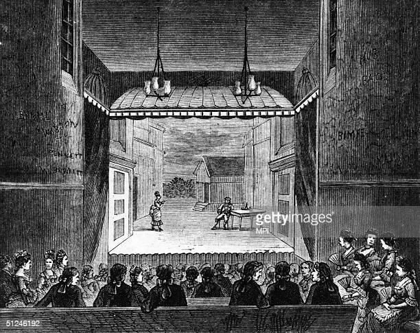 Circa 1750 A London stage on which American stages were closely based in the 18th century The engraving is labeled 'The John Street Theatre New York'