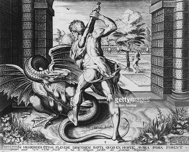 Circa 1750 Hercules slaying a dragon while taking the three Golden Apples from the Garden of the Hesperides one of his twelve labours