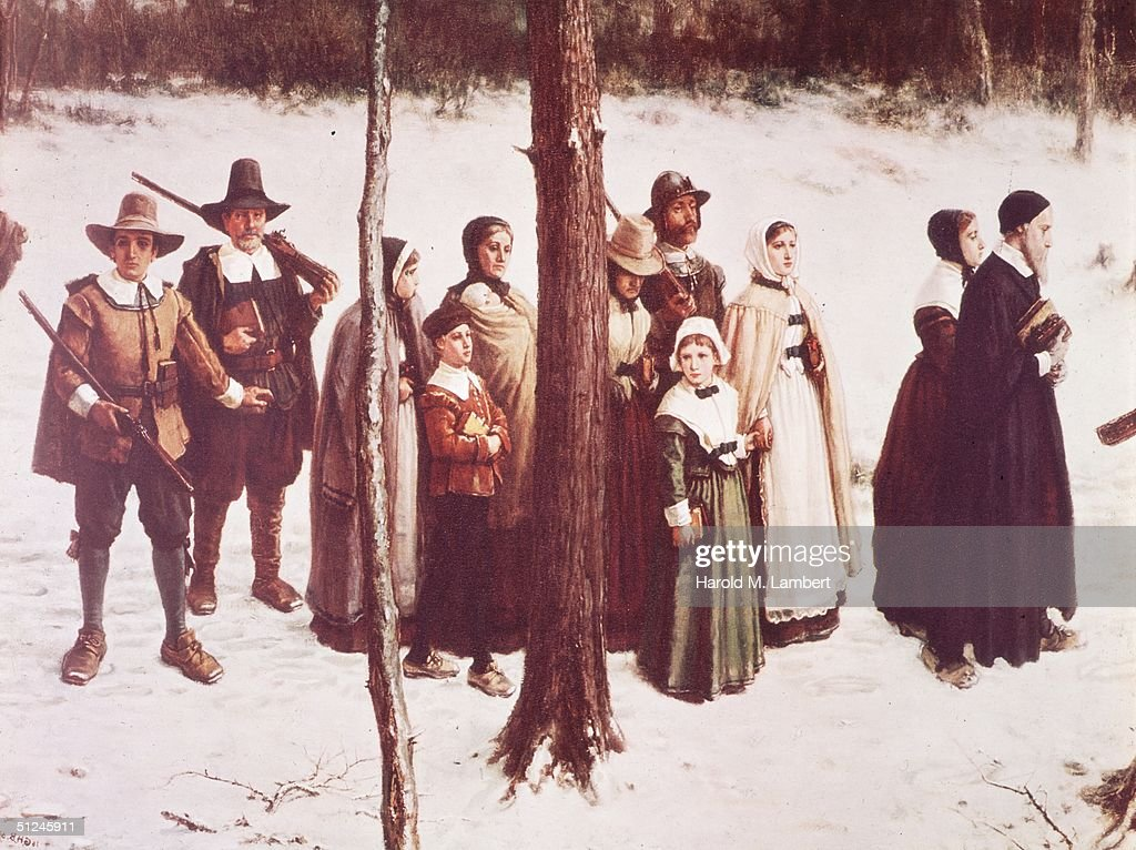 Circa 1750 Pilgrims moving in a procession through a forest