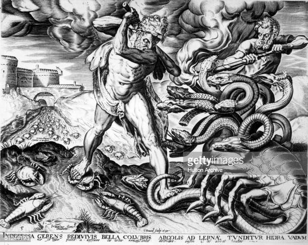 Circa 1750 The Greek hero Heracles or Hercules cuts off the nine heads of the Hydra a monster from the marshes of Lerna in Greece while his friend...