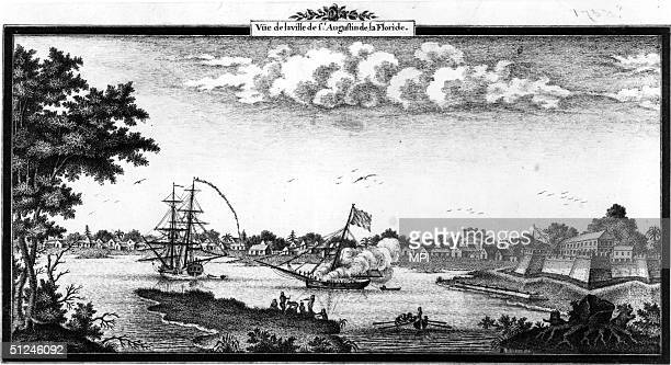 Circa 1750 The port of St Augustine Florida the oldest permanent European settlement in America The city was founded in 1565 by Spanish explorer...