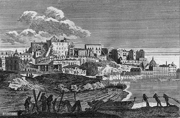 Circa 1750 View of Naples from the Mediterranean showing the Chuch of St Mary of Victory Palace of the English Minister Palace of the Imperial...