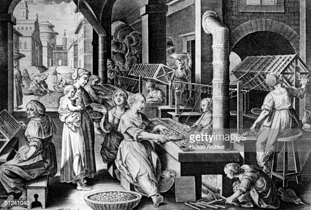 Circa 1750 Workers winding silk off cocoons
