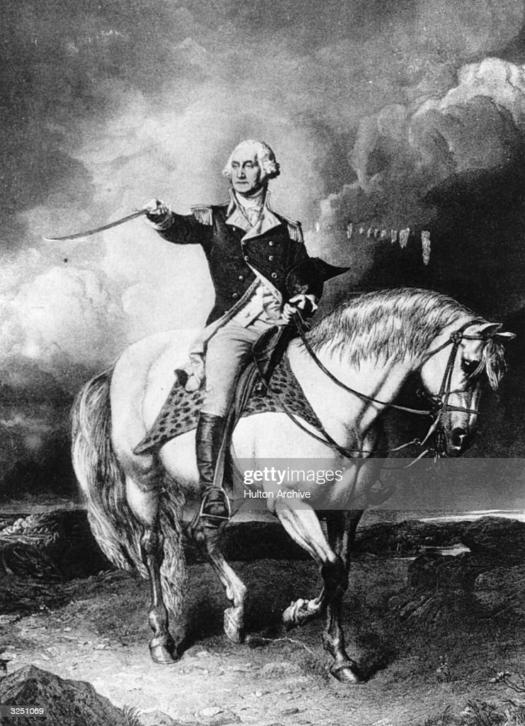 George Washington (1732 - 1799), the 1st President of the United States of America (1789 - 1797). At the outbreak of the American Revolution he was chosen as Commander in Chief. After the war he retired, but in 1787 resumed politics. He was elected President in 1789 and re-elected in 1793. He refused to serve a third term. He is buried at Mount Vernon.