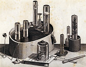 The equipment of Joseph Priestley with which the scientist discovered the elemet oxygen in 1774 In glass bells he contained seedlings or organic...