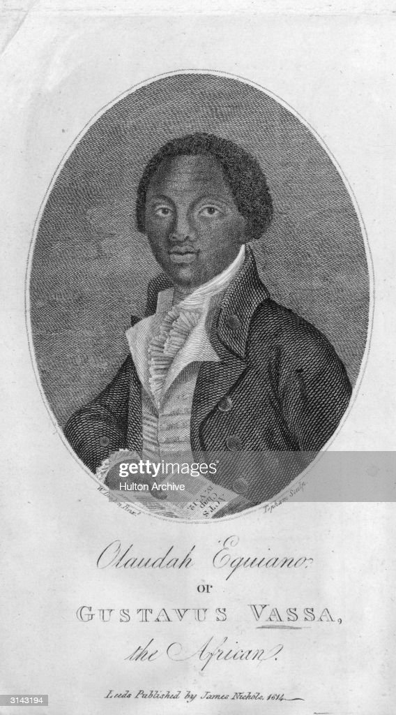 Olaudah Equiano or Gustavus Vassa (c.1745 - 1797). He was kidnapped from his home in Nigeria and sold as a slave, but he later bought his freedom and travelled to London where he joined the abolitionist movement. Original Artwork: Engraved by Topham after a painting by W Denton.