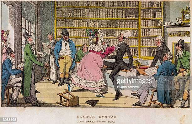 Dr Syntax is discovered by his wife in a Paris library and a look of terror comes over his face as she rushes towards him A cartoon from 'The Tour of...