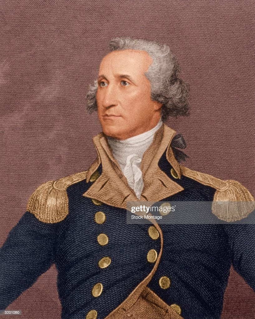 <a gi-track='captionPersonalityLinkClicked' href=/galleries/search?phrase=George+Washington&family=editorial&specificpeople=67214 ng-click='$event.stopPropagation()'>George Washington</a> (1732-1799). First president of the United States 1789-97. Born in Virginia, fought in French and Indian War 1755-58, member, VA House of Burgesses 1759-74, of First and Second Continental Congresses 1774-75, elected commander in chief of all Continental Armies June 1775. Here, engraved portrait after 1792 painting by John Trumbull depicts Washington viewing the enemy at the Battle of Trenton, NJ Dec. 1776.