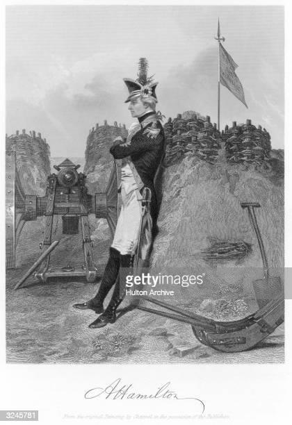 Portrait of American statesman Alexander Hamilton Continental soldier 177583 secretary to Gen Washington 177781 member Continental Congress 17823...