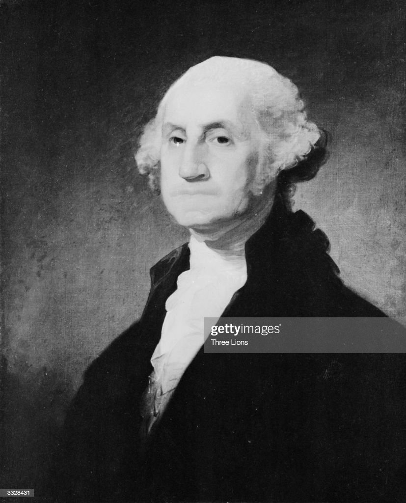 The 1st President of the United States George Washington (1732-1799). The painting is similar to the one used for United States postage stamps by Gilbert Stuart and is known as a 'Stuart Type'.