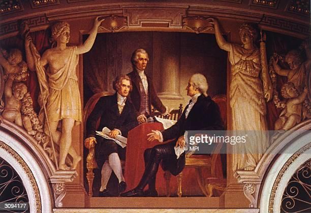 US president George Washington in consultation with his Secretary of State Thomas Jefferson and Secretary of the Treasury Alexander Hamilton A...