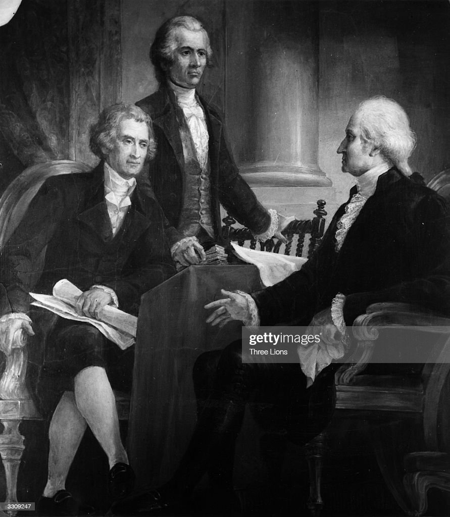 The 1st President of the United States George Washington in consultation with members of his first cabinet Secretary of State Thomas Jefferson later...
