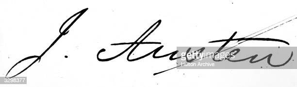 The signature of English novelist Jane Austen