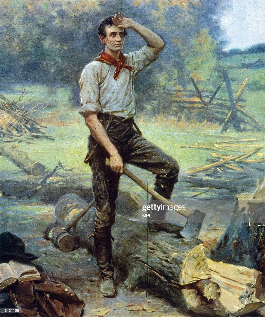 A painting showing Abraham Lincoln at work cutting logs this early work gained him the nickname of 'railsplitter' when he entered politics Copyright...