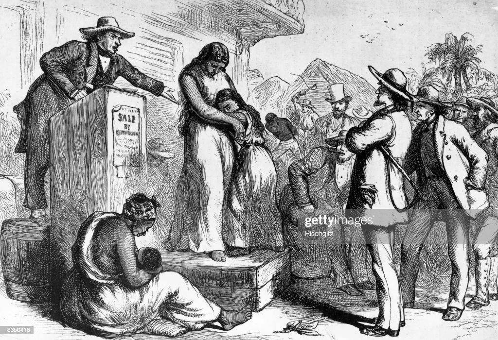 A slave auction in America
