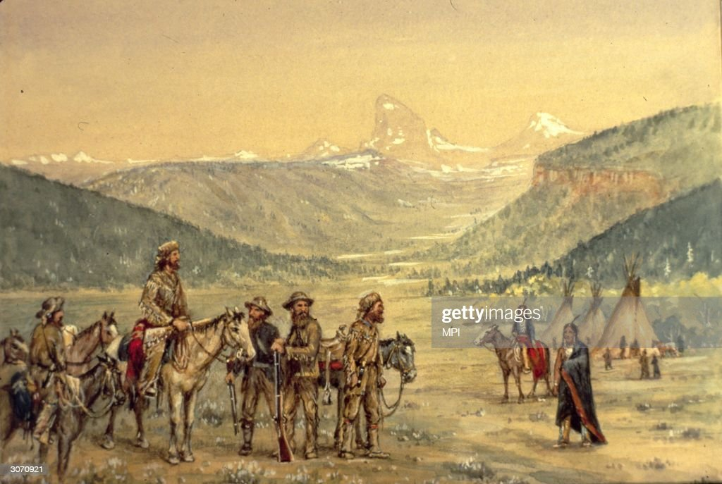 A band of white settlers arrive at a Native American encampment in a valley for a council meeting Original Artist By W H Jackson