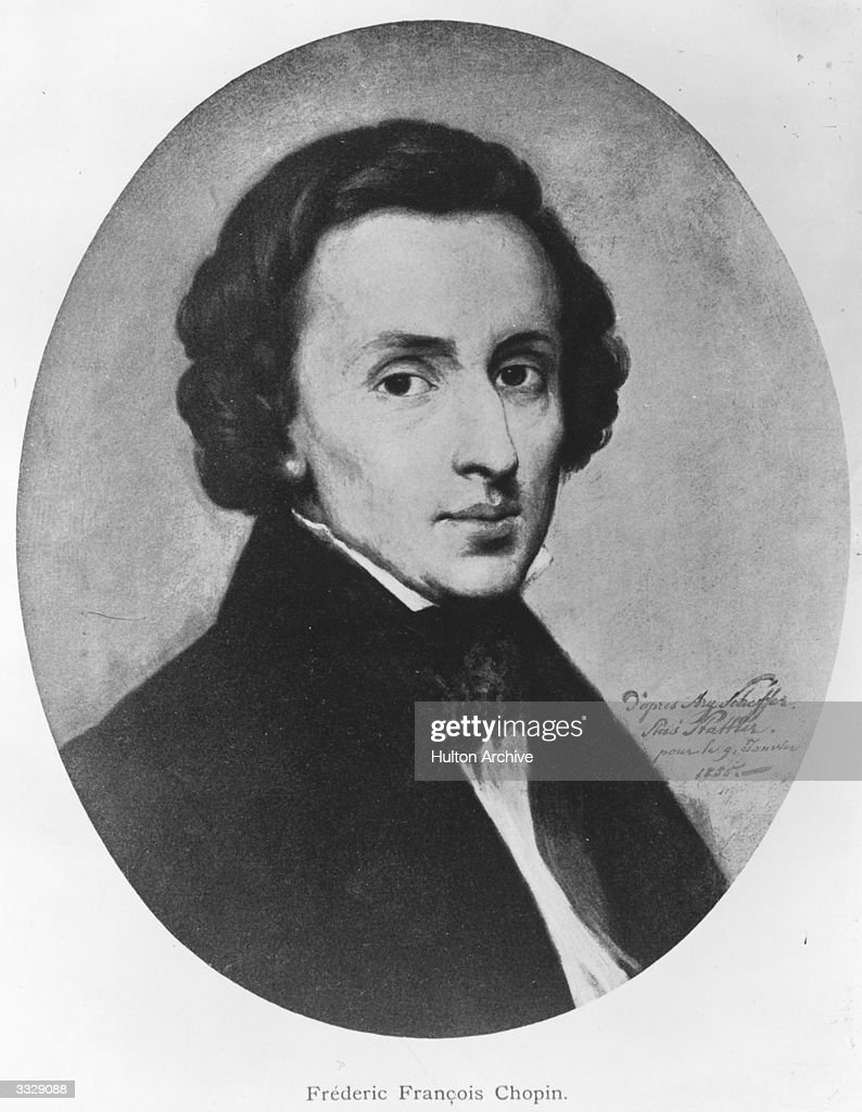 Polish composer Frederic Francois Chopin (1810 - 1849). Original Artwork: Painting after the portrait by Ary Scheffer