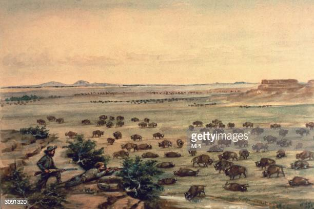 Two hunters shooting bison on the American plains A painting by W H Jackson
