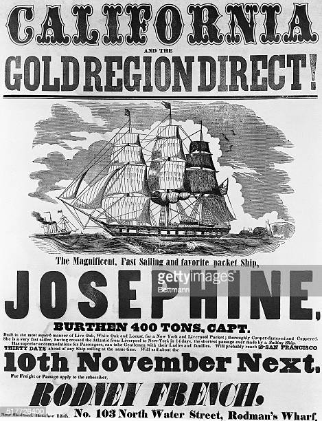 Circa 1849 poster advertising passage to the California gold region from New Bedford Massachusetts