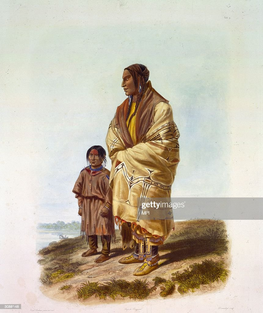 A Dakota Sioux woman with a captured Assiniboine girl Original Artwork Engraved by Desmadryl after a painting by Karl Bodmer