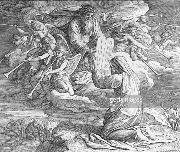 Moses Receives The Ten Commandments by Julius Schnorr von Carolsfeld from the German school