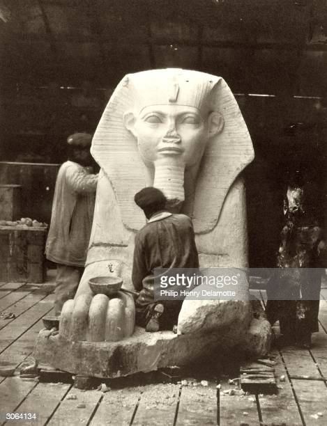 The restoration of the Great Sphinx from the Louvre for the Crystal Palace under reconstruction at Sydenham Hill South London
