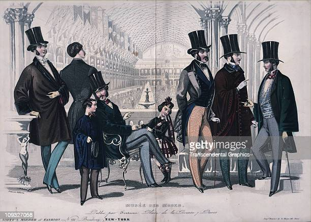 NEW YORK circa 1860 A lithograph promoting male fashion for the super wealthy in New York a group of fops of parade show off their finery