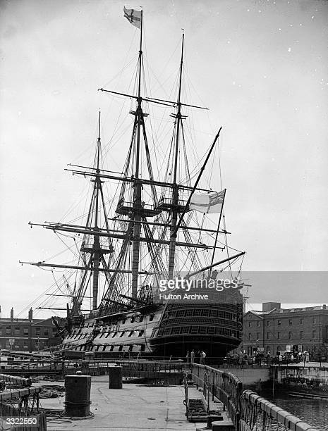 Horatio Nelson's flagship HMS Victory in dock in London