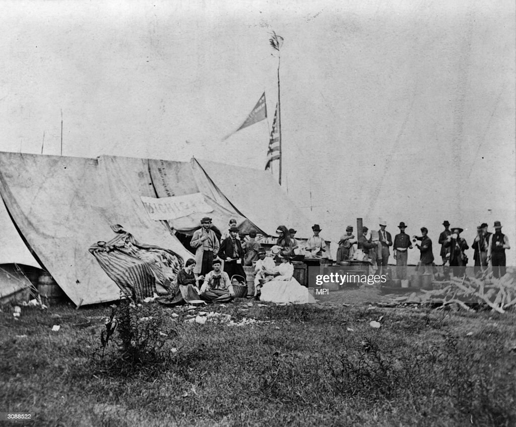 Nurses of the Michigan Soldiers' Relief Society outside a Union field hospital