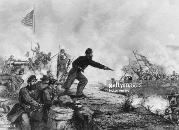 A Yankee soldier shooting a Confederate during the attack on Knoxsville during the American Civil War Original Publication From a painting by Thomas...
