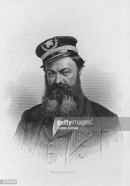 Portrait of American naval officer William David Porter commander of the USS 'Essex' during the Civil War Original Artwork Engraved by AH Ritchie