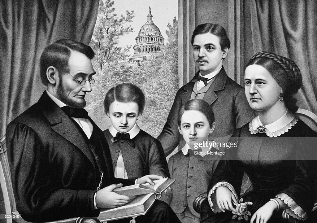 Abraham Lincoln the sixteenth US President with his youngest son Thomas 'Tad' who died aged 18 his son William 'Willie' who died aged 11 his eldest...