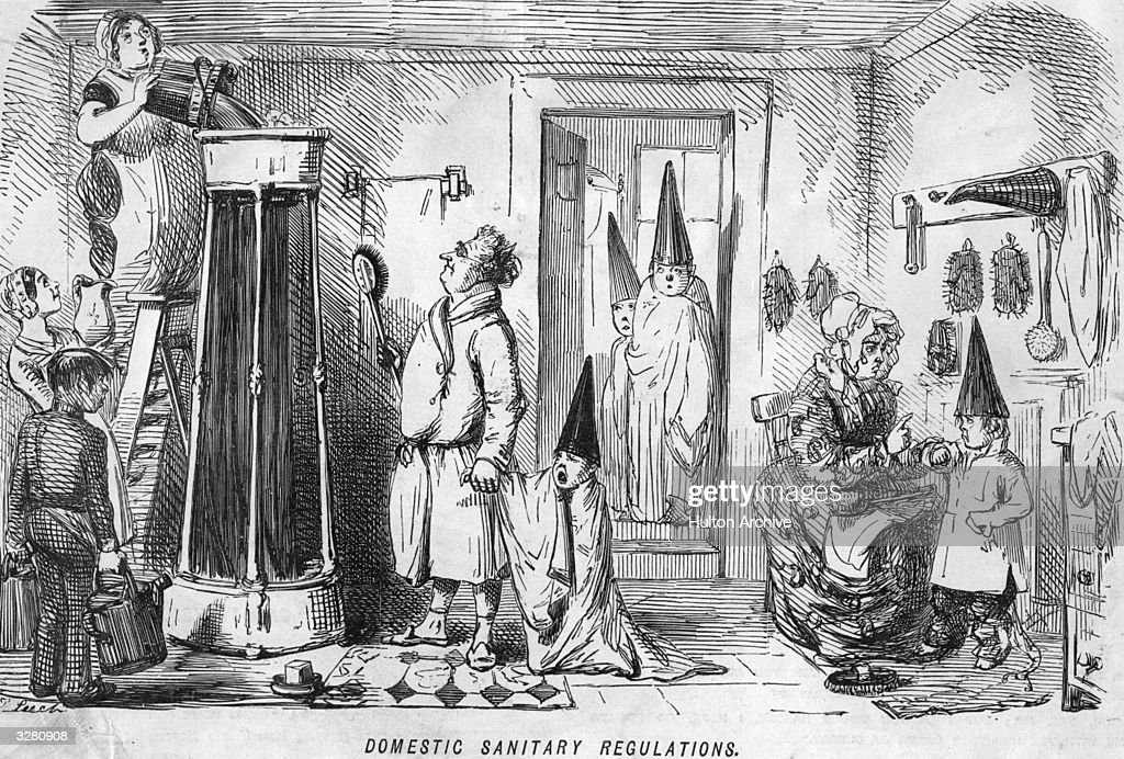 A cartoon entitled 'Domestic Sanitary Regulations' depicting children wearing pointed dunces hats and towels being instructed how to wash using a...