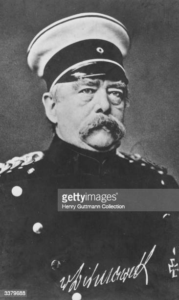 In military uniform and wearing the iron cross PrussoGerman Statesman Otto Edward Leopold von BismarckSchoenhausen The Iron Chancellor