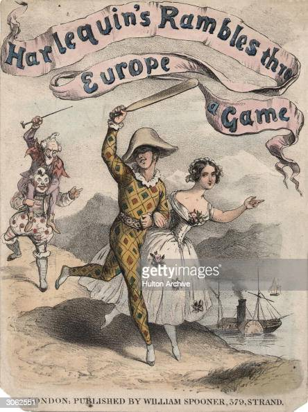 Publicity material for a pantomime entitled 'Harlequin's Rambles Thro' Europe A Game' showing a harlequin and a woman in ballerina's costume