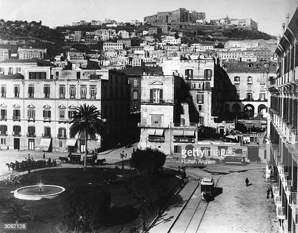 The Piazza Vittoria Naples with horse drawn trams