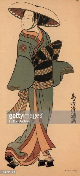 A Japanese woodblock print of a woman wearing a silk kimono and obi with wooden sandals and a broadbrimmed hat Original Artwork Drawn by Gillot
