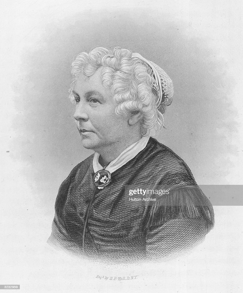 Elizabeth Cady Stanton (1815-1902). American reformer and suffragette who, along with Lucretia Mott and Susan B Anthony, was an early crusader and spokesperson for women's rights. She was an editor of the feminist magazine 'Revolution' and her own writings include 'Eighty Years and More'. Engraving by HB Hall.