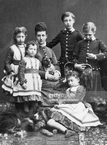Princess Alexandra consort of the future King Edward VII with her five children Prince George later King George V Prince Albert Victor Duke of...