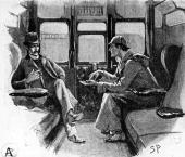 Detective Sherlock Holmes in a railway carriage with his companion Dr Watson Original Artwork Drawing from 'Strand' magazine