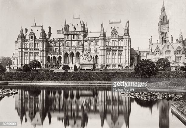 Eaton Hall in Cheshire reflected in a pond