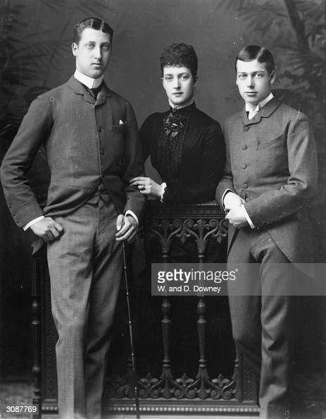 Princess Alexandra consort of the future King Edward VII with her two sons Prince Albert Victor Duke of Clarence and Prince George later King George V
