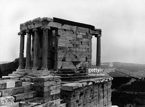 Ruins of the Temple of Nike Goddess of Victory in the Acropolis Athens