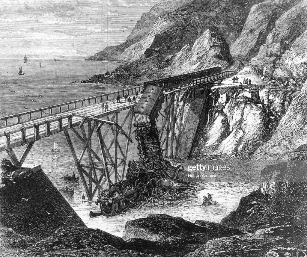 The scene of a train accident at Bray Head on the Dublin Wicklow and Wexford Railway